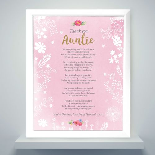 Personalised Pink Framed Poem Gift to say Thank You to a Special Auntie